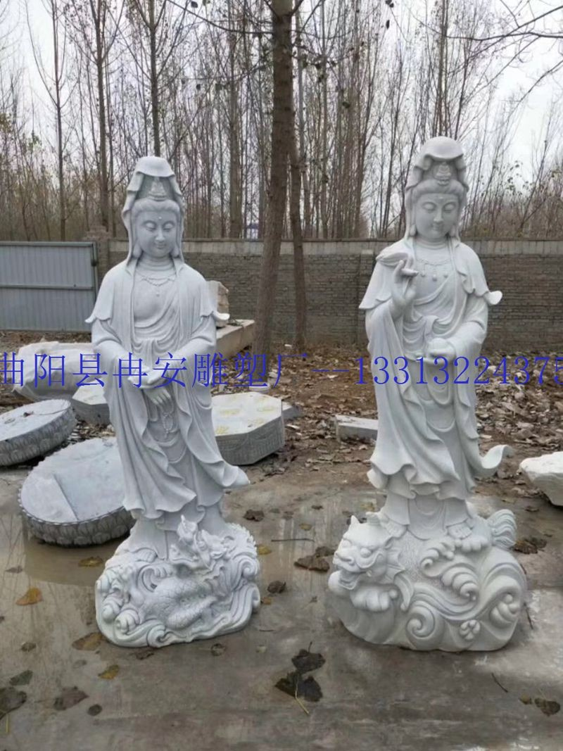 汉白玉观音像石雕厂家 雕刻观音像 2米观音像图片 石雕观音